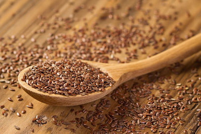 Flax seeds on a spoon